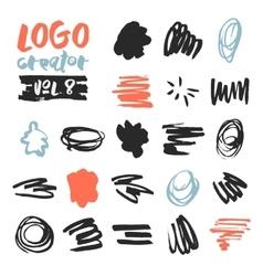 Set of 21 unique ink sketched shapes vector image