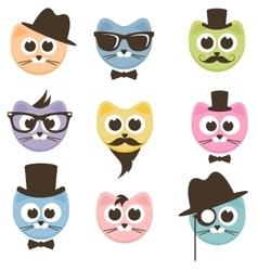 set of cartoon hipster cats vector image