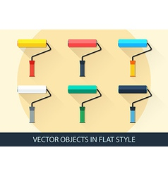 Set of roller in a flat style with shadow vector