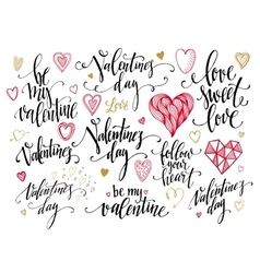 Valentine Day and Love lettering collection vector image vector image