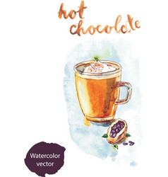 Watercolor hot chocolate vector
