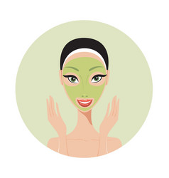 Young beautiful woman applying face mask spa skin vector