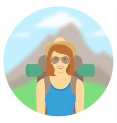 Young woman tourist with a backpack vector image