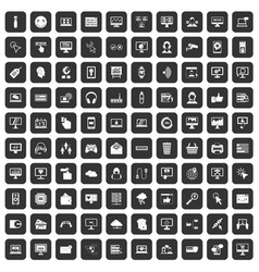100 internet icons set black vector