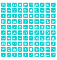 100 shopping icons set grunge blue vector image vector image
