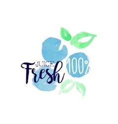 Blueberry 100 percent fresh juice promo sign vector
