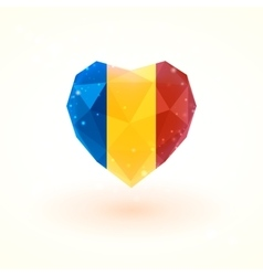 Flag of chad in shape diamond glass heart vector