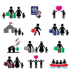 Refugee immigrants families running away vector image