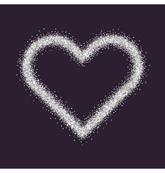 Valentine s day symbol heart silver sparkles and vector