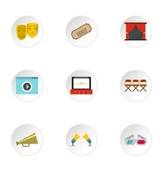 Cinematography icons set flat style vector