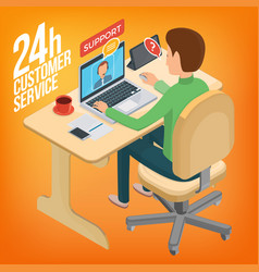 isometric image service for customers man sitting vector image