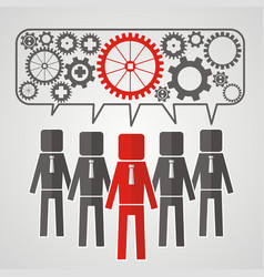 he heads of five people with gears the concept of vector image