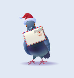 Christmas santa claus post pigeon vector