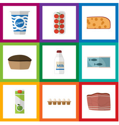 Flat icon food set of tomato tart bottle and vector