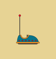 Electric bumper red car flat line icon amusement vector