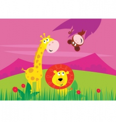giraffe lion monkey vector image