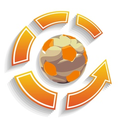 Soccer ball circle with arrows vector