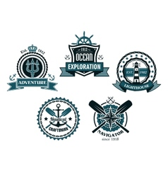 Nautical and marine emblems or icons vector