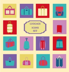 Fashion luggage baggage theme icons collection vector
