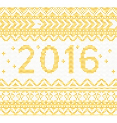 Christmas knitted yellow new year 2016 card vector