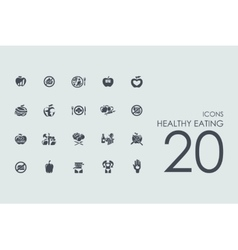 Set of healthy eating icons vector