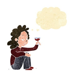 Cartoon unhappy woman with glass of wine with vector