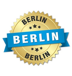 Berlin round golden badge with blue ribbon vector