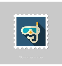 Diving mask flat stamp summer vacation vector