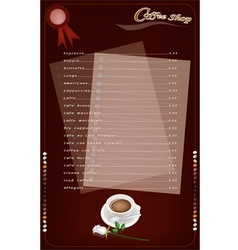 A Coffee Menu Templatefor Cafe and Coffeehouse vector image vector image