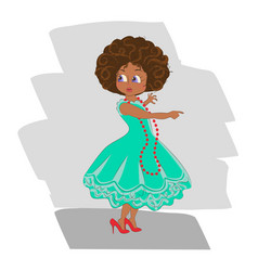 African american cute little girl vector
