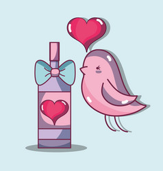 Bird dove lover with heart and champagne vector