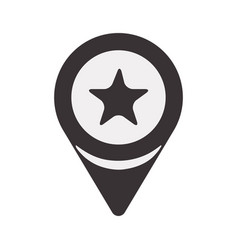 Black search sign with star inside icon vector