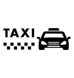 black taxi car on white background vector image