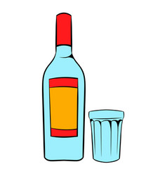 Bottle of vodka and glass icon cartoon vector