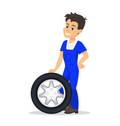 Cartoon worker replacement tire wheel vector