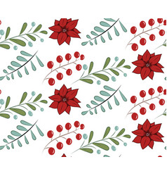 christmas seamless pattern with hand drawn vector image vector image
