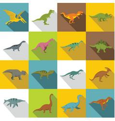 Dinosaur icons set flat style vector