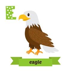 Eagle E letter Cute children animal alphabet in vector image