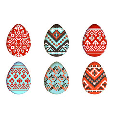 Easter eggs set in paper cut style for vector