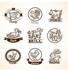 Farm Labels Set vector image