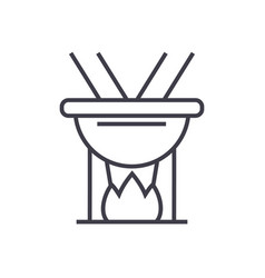 Fondue line icon sign on vector