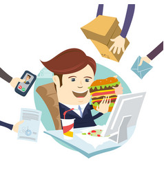 Funny multitasking business man eating sandwich vector
