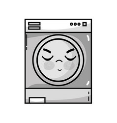 Grayscale kawaii cute angry washing machine vector