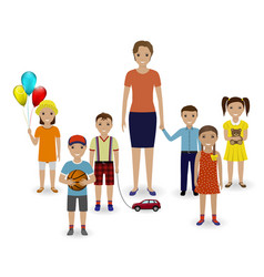 Group of children with toys and kindergarten vector