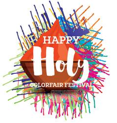 Happy holi celebration poster vector