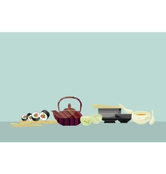 japanese food tea sushi and soup vector image vector image