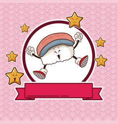 kawaii sushi chinese food card banner vector image