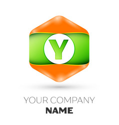 Letter y logo in the colorful hexagonal vector