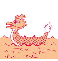 Orange dragon boat cartoon chinese in se vector