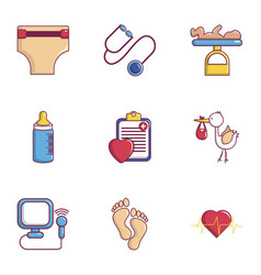 Pregnancy mother icons set flat style vector